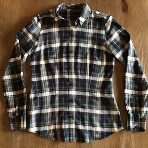 The Limited Navy/Green Plaid Button Down Shirt